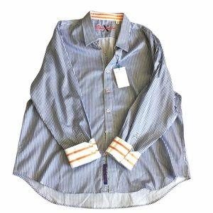 NEW ROBERT GRAHAM X Sport Stripe Dress Shirt Tailored Fit Size 4XL